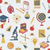 Achtergrond terug naar schoo, vector, vlakke pictogrammen Royalty-vrije Stock Afbeelding
