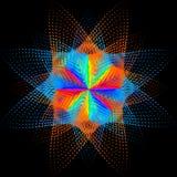 Achtergrond, textuur, abstractie De kleurenvlek een ster of een bloem is geïsoleerd op zwarte achtergrond stock illustratie