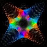 Achtergrond, textuur, abstractie De kleurenvlek een ster of een bloem is geïsoleerd op zwarte achtergrond royalty-vrije illustratie