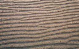 Achtergrond, textuur, golven van zand bij zonsondergang Royalty-vrije Stock Foto