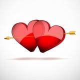 Achtergrond Twee Harten en pijl. Valentijnskaartendag Stock Afbeeldingen