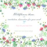 Achtergrond, uitnodigingskaart, malplaatjeprentbriefkaar met gele wildflowers, de klaverbloemen en het gras Stock Foto