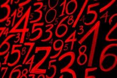 Achtergrond van aantallen van nul tot negen Aantallentextuur De symbolen van de munt numerology Wiskundige vergelijkingen en form stock foto