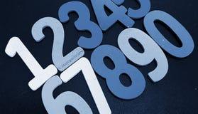 Achtergrond van aantallen van nul tot negen Achtergrond met aantallen Aantallentextuur Stock Foto