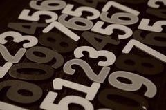 Achtergrond van aantallen van nul tot negen Achtergrond met aantallen Aantallentextuur Stock Foto's
