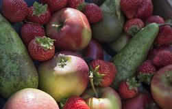 Achtergrond van appelen en aardbeien stock foto