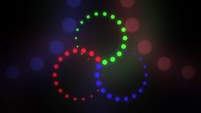 Achtergrond van Astract de rode, groene en blauwe cirles RGB, LEIDENE verlichting of kleur het mengen concepten het 3d teruggeven Stock Afbeeldingen