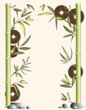 Achtergrond van bamboe en muntstukken Stock Fotografie