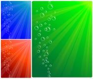 Achtergrond van bellen en water Stock Foto's