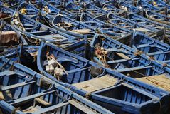 Achtergrond van blauwe boten Stock Afbeeldingen