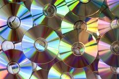 Achtergrond van cds of dvds Stock Foto