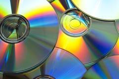 Achtergrond van cds of dvds Stock Foto's