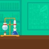 Achtergrond van chemielaboratorium Stock Afbeeldingen