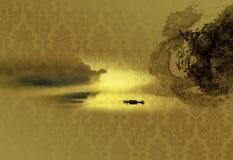 Achtergrond van Chinese inkt Stock Afbeeldingen