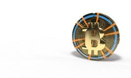 Achtergrond van 3d bitcoin licht symbool, Royalty-vrije Stock Foto's