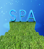 Achtergrond van 3d text SPA Stock Foto's