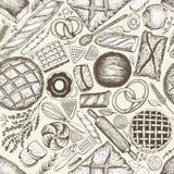 Achtergrond van de bakkerij de hoogste mening Hand getrokken vector naadloos patroon met brood en gebakje Retro illustratie Kan g Stock Foto