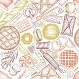 Achtergrond van de bakkerij de hoogste mening Hand getrokken vector naadloos patroon met brood en gebakje Retro illustratie Kan g Stock Afbeelding