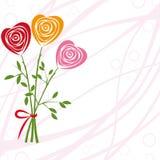 Achtergrond van de bloem met nam toe als hart. Stock Afbeeldingen