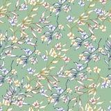 Achtergrond van de bloemen van de contourlente in inkt op een groene achtergrond worden getrokken die Uitstekende textuur voor st vector illustratie