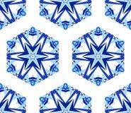 Achtergrond van de caleidoscoop de Witte Blauwe Bloem Royalty-vrije Stock Afbeelding