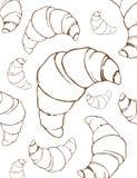 Achtergrond van de croissants de lineaire tekening Stock Foto's