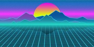 Achtergrond van de Cyberpunk retro computer Bergen, vlakte en zon stock illustratie