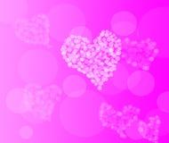 Achtergrond van de dag de roze harten van Valentine bokeh Stock Afbeelding