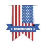 Achtergrond van de dag van Columbus, Amerikaanse vlag Stock Afbeelding