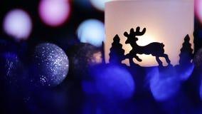 Achtergrond van de de Herten de lichte lamp van het Kerstmisnieuwjaar stock video