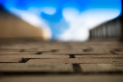 Achtergrond van de de muur de verse blauwe hemel van de stadsgrens Stock Foto's