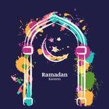 Achtergrond van de de waterverfnacht van Ramadan Kareem de vector met kleurrijke maan en sterren in het venster vector illustratie