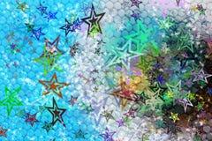 Achtergrond van de fantasie de abstracte kleur met sterrenvormen Royalty-vrije Stock Afbeeldingen