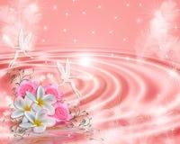 Achtergrond van de Fantasie van de fee de Roze bloemen Stock Afbeelding