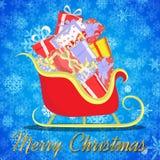 Achtergrond van de giftvervoer van de Kerstmisriksja Stock Fotografie