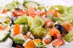 Achtergrond van de Griekse salade Stock Foto's