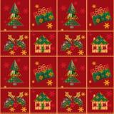 Achtergrond van de het lapwerktextuur van het Kerstmis de naadloze patroon Royalty-vrije Stock Fotografie