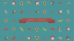 Achtergrond van de het ontwerpanimatie van de Purimvakantie de vlakke met traditionele symbolen en Engelse teksten royalty-vrije illustratie