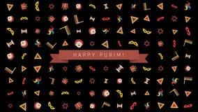 Achtergrond van de het ontwerpanimatie van de Purimvakantie de vlakke met traditionele symbolen en Engelse teksten vector illustratie