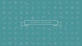 Achtergrond van de het ontwerpanimatie van de Purimvakantie de vlakke met de traditionele symbolen van het overzichtspictogram en stock illustratie