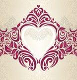 Achtergrond van de huwelijks de Rode en Gouden uitstekende uitnodiging Royalty-vrije Stock Afbeelding