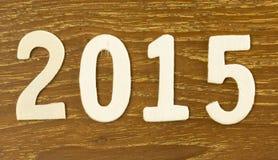 2015 achtergrond van de Jaar de Houten tekst Stock Fotografie