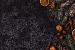 Achtergrond van de Kerstmis de donkere steen Stock Fotografie
