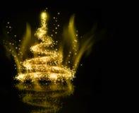 Achtergrond van de Kerstmis de gouden Boom Stock Foto