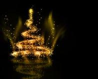 Achtergrond van de Kerstmis de gouden Boom Royalty-vrije Stock Fotografie
