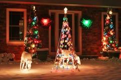 Achtergrond van de Kerstmis de openluchtdecoratie Stock Foto's
