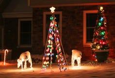 Achtergrond van de Kerstmis de openluchtdecoratie Royalty-vrije Stock Afbeeldingen