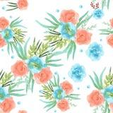 Achtergrond van de lentebloemen Naadloos patroon watercolor Royalty-vrije Stock Foto's