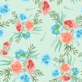 Achtergrond van de lentebloemen Naadloos patroon watercolor Stock Foto