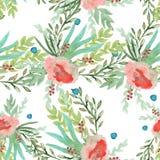 Achtergrond van de lentebloemen Naadloos patroon watercolor Stock Afbeeldingen